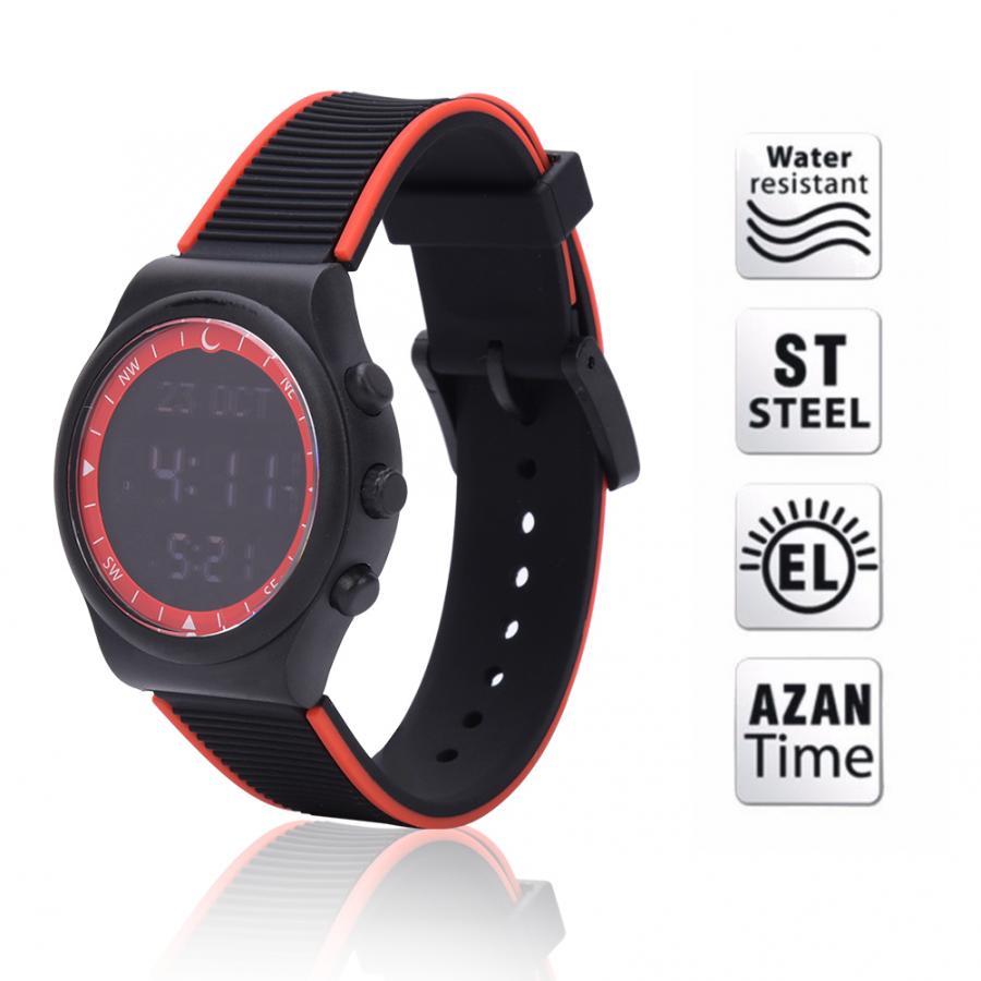 Muslim Watch Plastic Stainless Steel Waterproof Worship Prayer Wristwatch Religious Supplies Red/Black