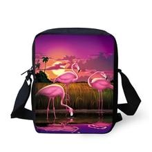 HaoYun Fashion Women's Messenger Bags Sunset Flamingos Pattern Kids Shoulder Bags Kawaii Animal Painting Girls Mini Flaps Bags колготки детские для мальчиков брестские