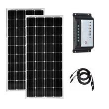 цена на Kit Solar 200w 100w Solar Panel 12v  2Pcs Solar Charge Controller Regulator 12v/24v 30A Solar Battery Charger Boat Caravan Car