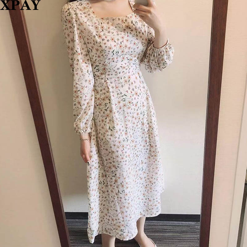 Retro Floral Sweet Women Dress Long Sleeve Spring Summer  A Line Dresses Sexy Square Collar Fashion Holiday Maxi Dress Vestidos