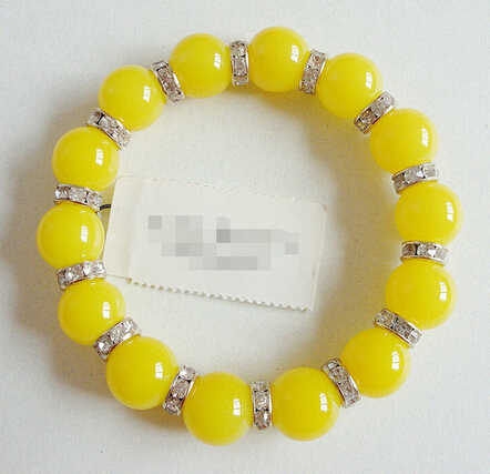>>>>TALBOTS FAUX PEARL YELLOW CUT CRYSTALS STRETCH BRACELET NWT