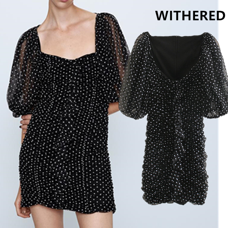 Withered England Vintage Puff Sleeve Elegant Dot Gauze Dress Women Vestidos Vestidos De Fiesta De Noche  Sexy Mini Dress Blazer