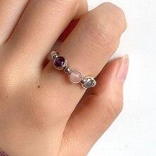 Moda ouro prata cor grânulos anéis para mulher artesanal de pedra natural casamento festa anéis elástico presente preço por atacado