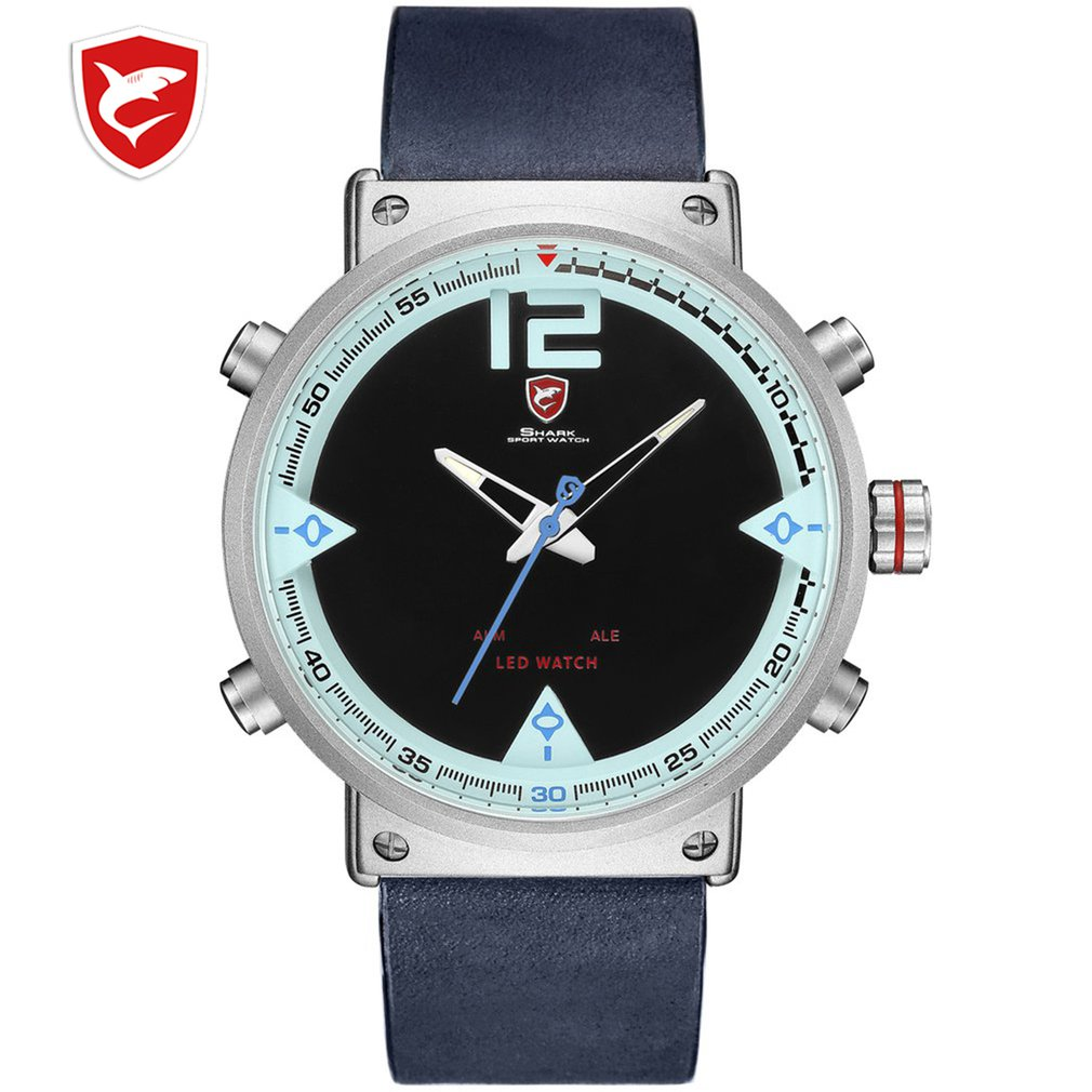 SH165 Bluegray Carpet Shark Men Sport Watch Top Brand Military Black Watches LED Digital Analog Quartz Wristwatch Relogio Clock