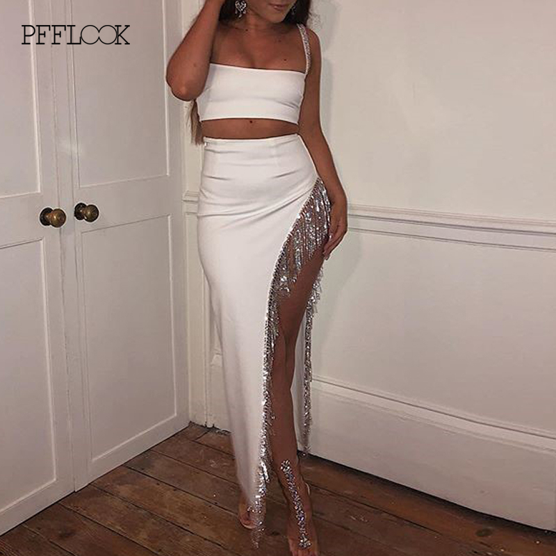 PFFLOOK Summer Tassel Diamond Sexy Two Piece Set Bodycon Party 2 Piece Set Women Sleeveless White Spaghetti Strap Women Set 2020