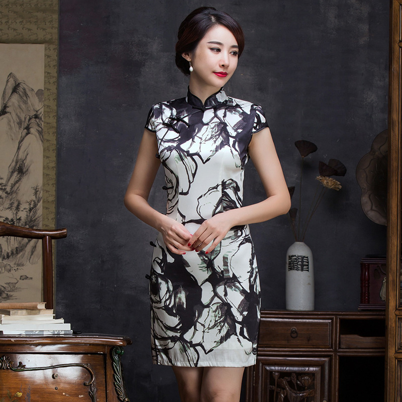 2019 Sale Tank Ancient Ways Of New Fund Of Autumn Winters Is Modified Silk Cheongsam High-end Ink Printing Fine Ladies' Dresses