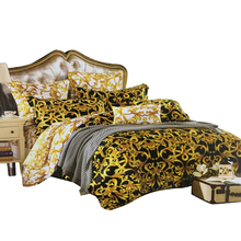 High end Luxury French Italy Style Design King Queen Size Coffee Golden Color Pattern Print Home