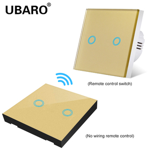Image 3 - UBARO EU/UK100 240V Wireless Controller Crystal Glass Screen Smart home wall light lamp RF433 Controller Touch switches 2Gang