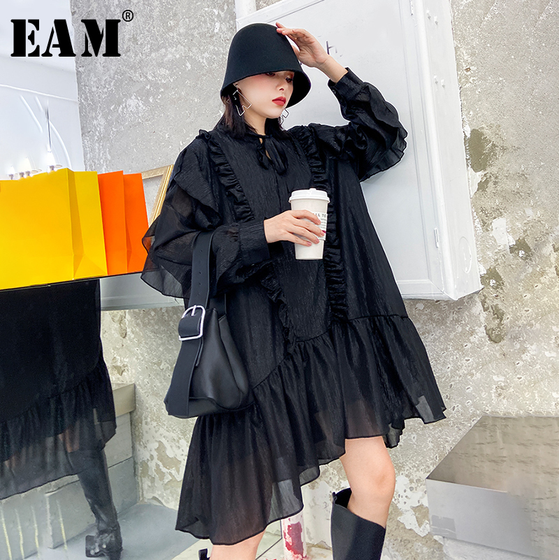 [EAM] Women Black Ruffles Split  Big Size Dress New Stand Collar Long Sleeve Loose Fit Fashion Tide Spring Autumn 2020 1R107