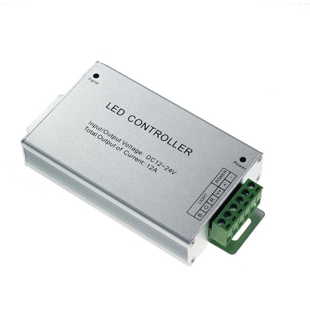 IR 44 keys Remote Control DC12 24V 4A 3Channel RGB LED Controller Aluminum shell LED Controller For SMD 5050 3528 RGB LED Strip in RGB Controlers from Lights Lighting