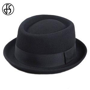 Image 2 - FS Vintage porc tarte chapeau hommes à large bord laine feutre Fedora noir chapeau Mans église Jazz ruban Trilby Panama Gangsters casquettes