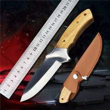 440C steel straight knife EDC blade tactical knives hunting for survival fixed blade knife outdoor utility knifes camping knife hx outdoors survival fixed knife bamboo handle camping knife black blade saber tactical tools cold steel hunting straight knife
