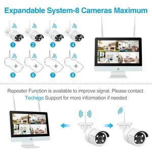 "Image 4 - Techege 8CH אבטחת CCTV מצלמה 1080P IP המצלמה WIFI NVR ערכת 12 ""LCD צג אבטחה 2MP שתי דרכים לדבר מצלמה"