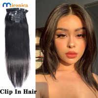 Clip en extensiones de cabello humano Remy peruano pelo recto Natural Color negro 8 unids/set cabeza completa conjuntos 120G envío gratis