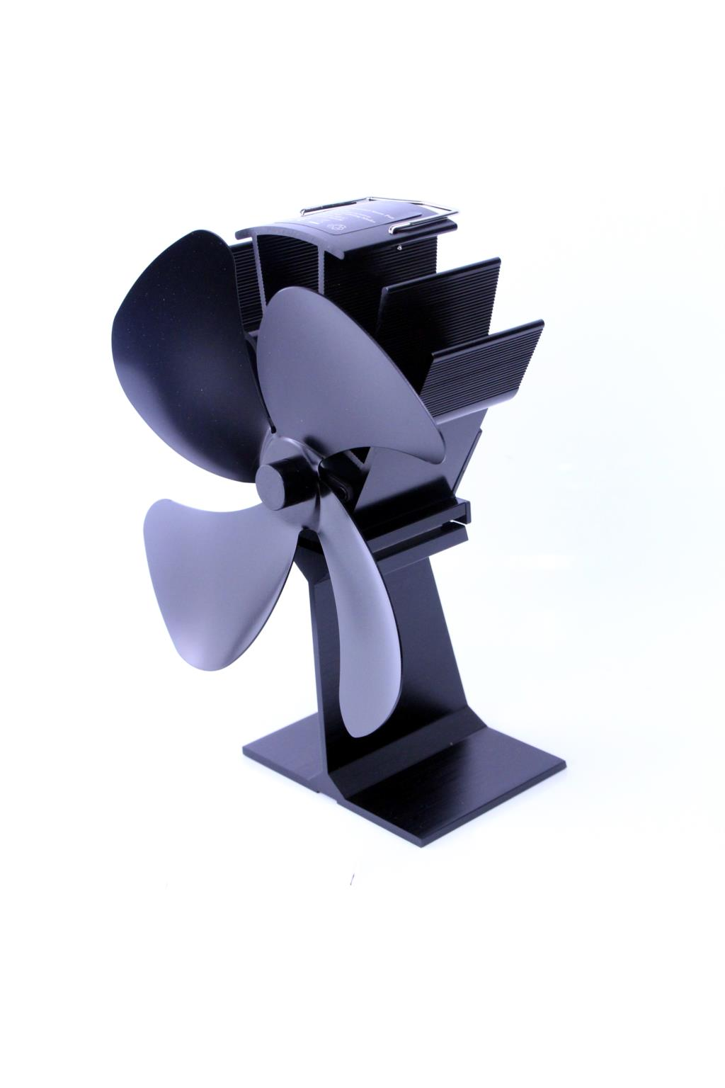 Heat Powered Stove Fan 4 Blades With Thermometer Home Silent Fireplace Fan For Wood/Log Burner/Fireplace Efficient Eco Stove Fan