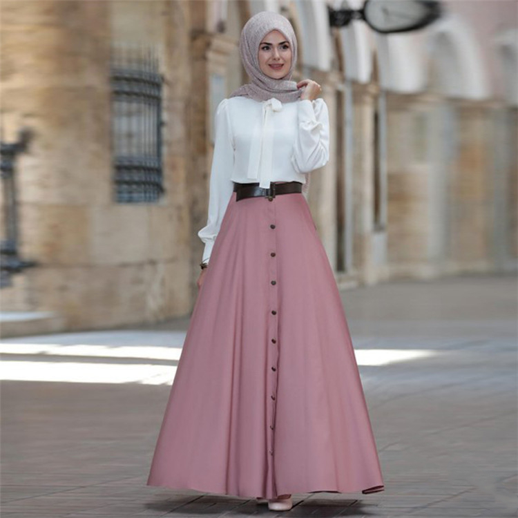 WEPBEL Muslim Women Long Skirt Arab Dubai Fashion High Waist Elegant Button Pure Color Big Pendulum Plus Size S-5XL