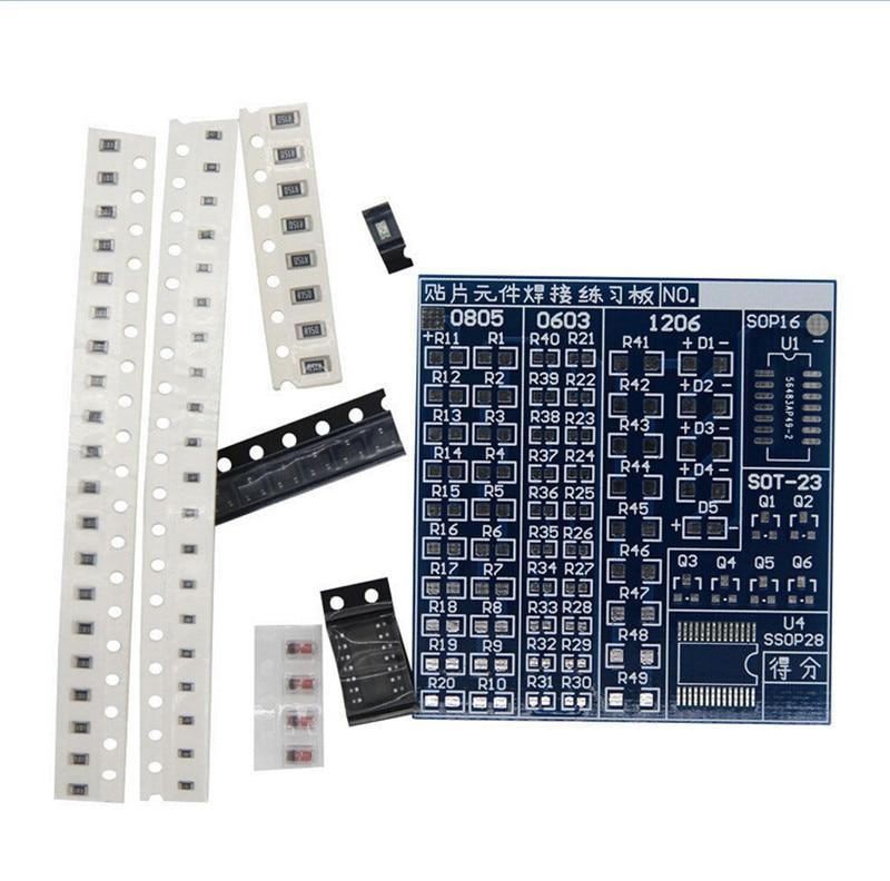 SMT SMD composant soudage pratique conseil de soudage kit de bricolage Resitor Diode Transistor par commencer à apprendre électronique