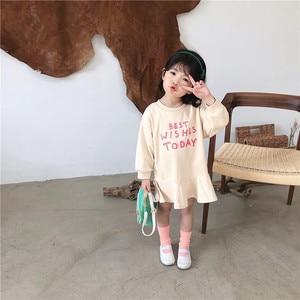 Image 3 - Весеннее Новое поступление, универсальное свободное хлопковое платье в Корейском стиле с длинными рукавами и буквенным принтом для милых маленьких девочек