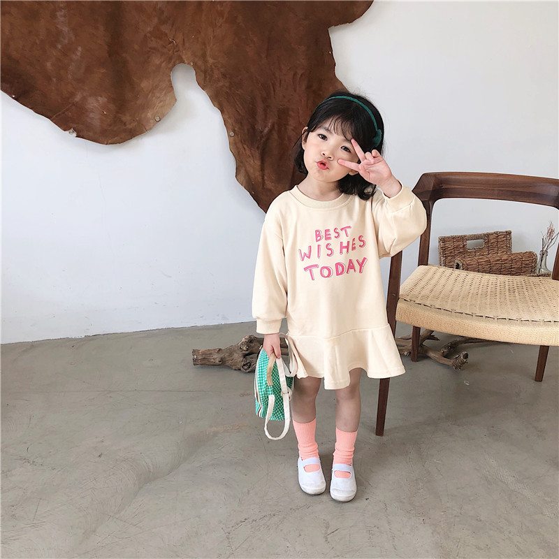 Image 3 - Spring New Arrival Korean style cotton letters printed all match loose long sleeve fashion dress for sweet cute baby girlsDresses   -