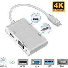 Cable adaptador 4 en 1, USB 3,1, C, tipo C a HDMI, VGA, DVI, USB 3,0 para ordenador portátil, Apple, Macbook, Google, Chromebook Pixel