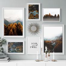 Лесная Гора река птица осенний пейзаж настенная Картина на холсте