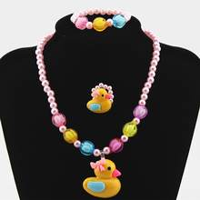 3Pcs Girls Yellow Duck Butterfly Candy Bead Ring Necklace Bracelet Jewelry Set New(China)
