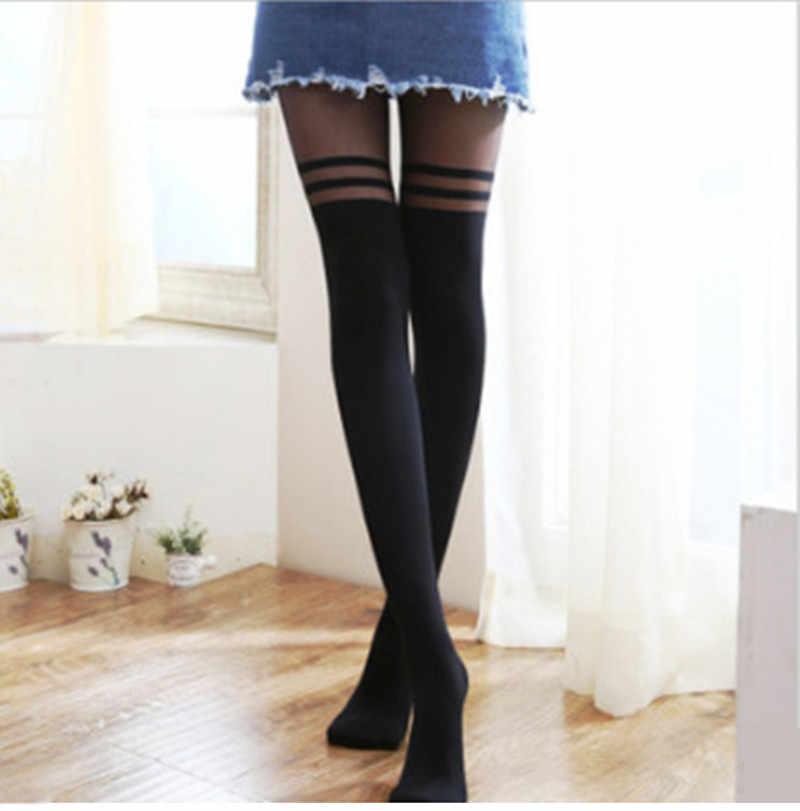 Costura listra sexy wemen meia-calça feminino preto meias meias meias meias meias senhora coxa alta meia
