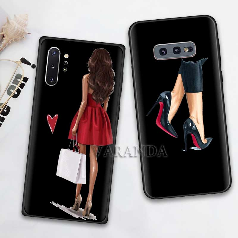 Fashion High Heels Girl Flower Case For Samsung Galaxy S10 5G S10e Note 10 8 9 S9 S8 S7 Plus S7 Edge Black Silicone Coque Fall