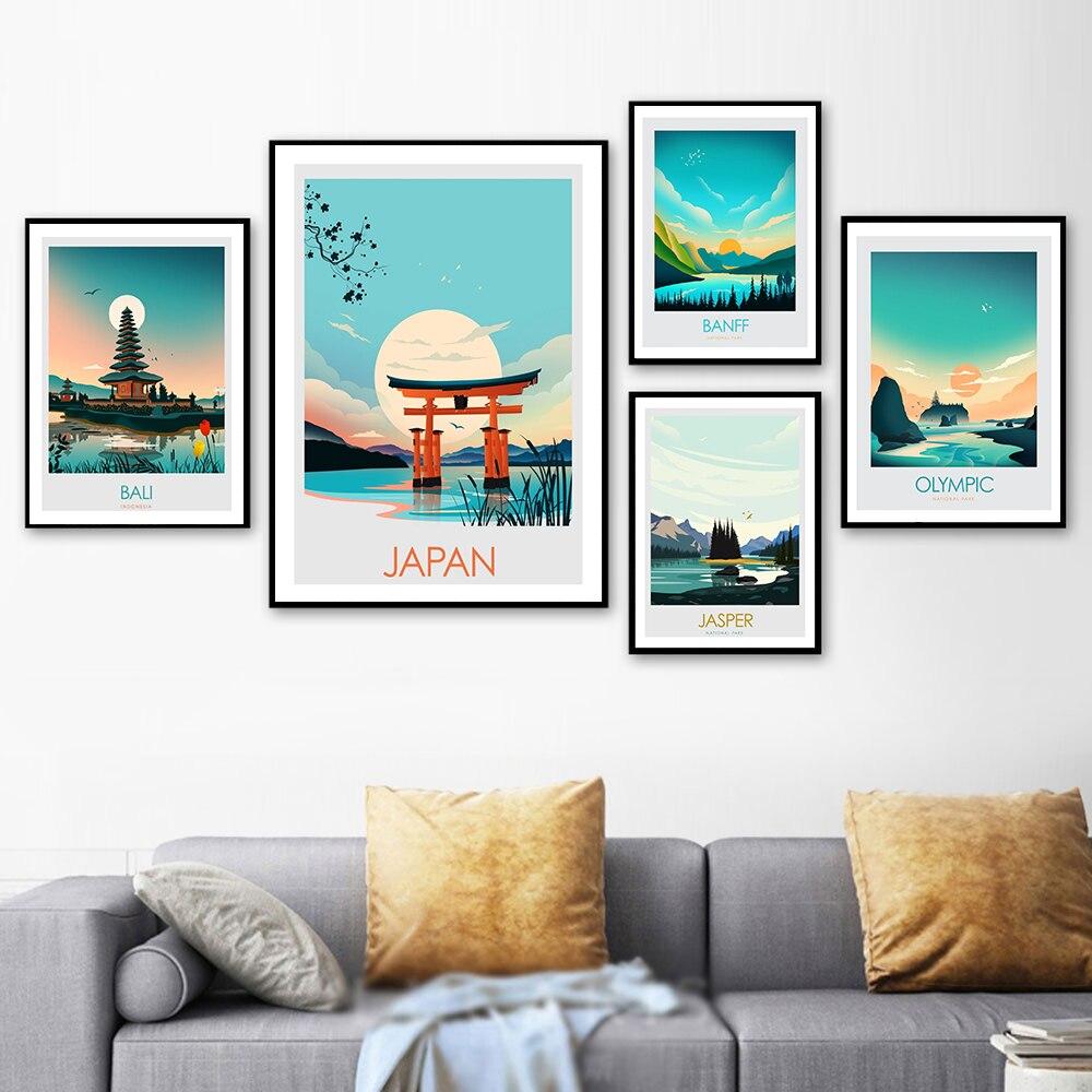 İskandinav Modern yağlıboya manzara Bali japonya Banff tuval boyama sanat baskı posteri resim duvar oturma odası ev dekor