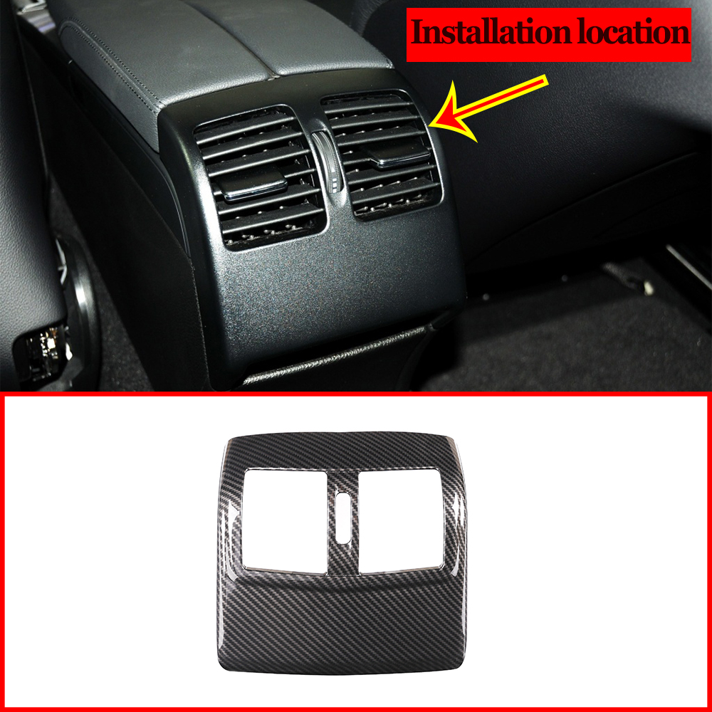 Carbon Fiber Style ABS Rear Row Air Condition Outlet Frame Cover Trim For <font><b>Mercedes</b></font> Benz E Class W212 2012-2015 Car Accessories image