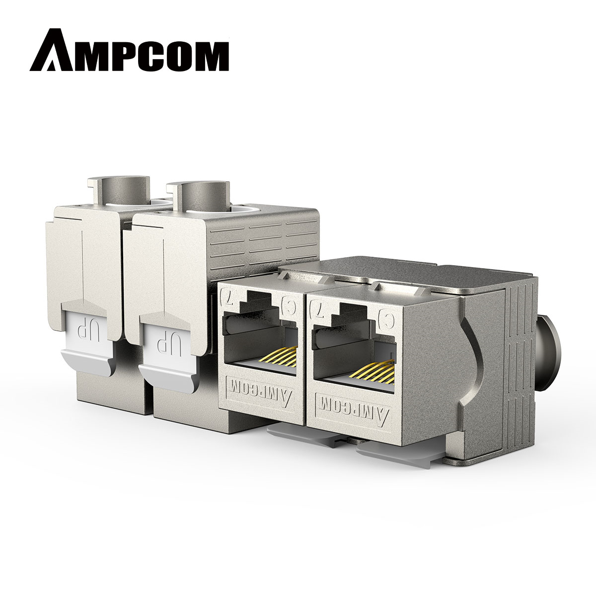 RJ45 CAT 7 Tool-Less STP Shielded Keystone Jack, AMPCOM Self-Locking Cat7 Keystone Zinc Alloy Module Coupler Adapter Wall Plate