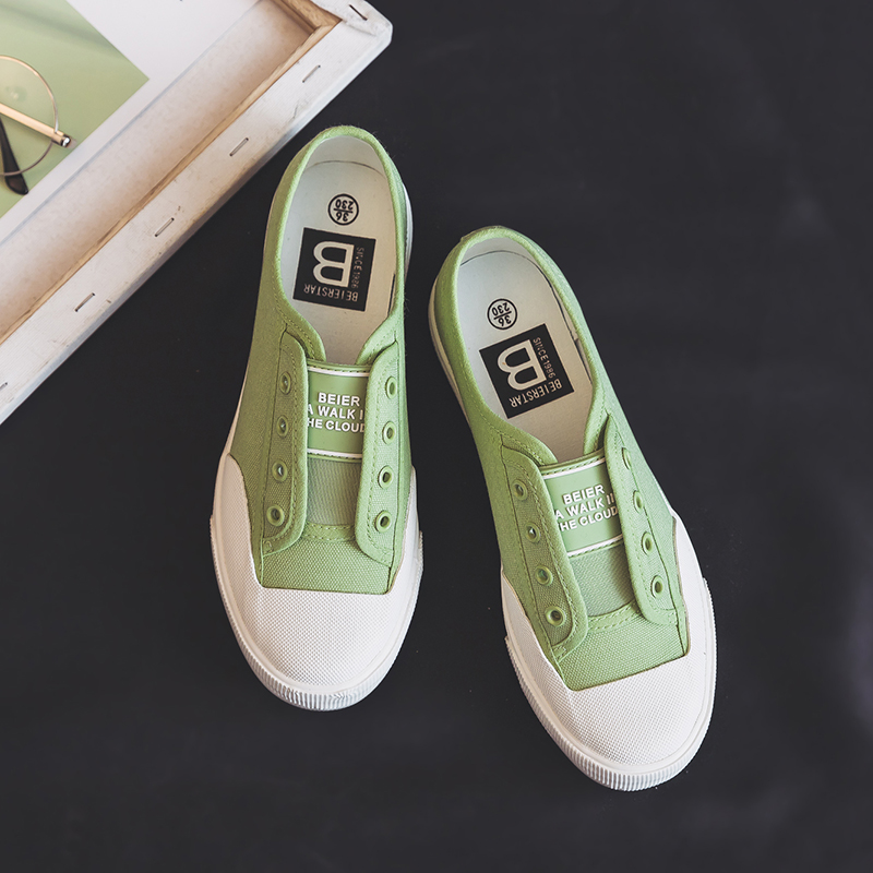 Casual Sneakers Shoes Slipon Lazy-White Girls Black Green Women's Canvas New-Style All-Match