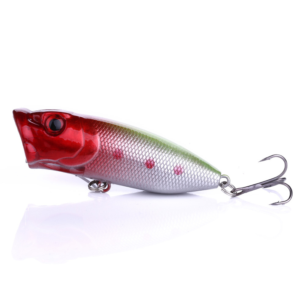 YUZI Fishing Lure Popper Vivid 3D Fish Eyes Isca Crankbaits Artificial Wobblers 6 High Carbon Steel Hooks Baits BP014 in Fishing Lures from Sports Entertainment