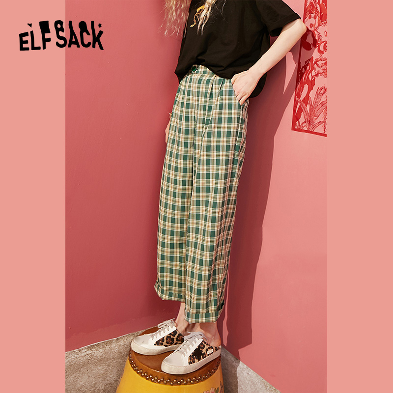 ELFSACK Green Plaid High Waist Loose Casual Women Pants 2020 Spring Red Colorblock Straight Ladies Korean Style Daily Trouser