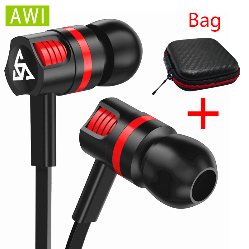 AWI Earphone Stereo Basss With Mic Handsfree Gaming Headset For Iphone 4 4s 5 5s 6 6s Plus Xiaomi Samsung Android Phones