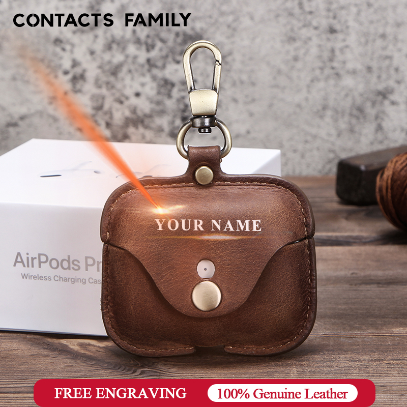 Luxury genuine cow leather funda <font><b>airpods</b></font> Pro apple fundas <font><b>auriculares</b></font> inalambricos airpod 3 case with keychain estuche pequeño image