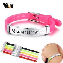 Vnox personalizuj dzieci Baby ID bransoletki miękkiego silikonu steru ze stali nierdzewnej dzieci dziewczyny chłopcy niestandardowe nazwa telefonu awaryjnego