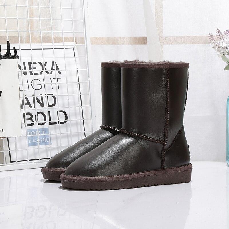 MIYAGINA جديد أزياء المرأة الثلوج الأحذية 100% جلد طبيعي النساء الأحذية الطبيعي الفراء الدافئة الصوف الشتاء أحذية شحن مجاني-في أحذية منتصف ربلة الساق من أحذية على  مجموعة 3