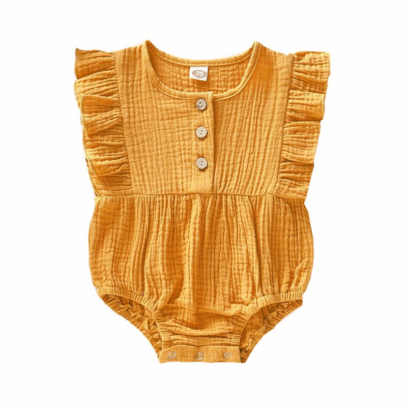 9M-3Y Newborn Baby Girls Bodysuit Solid Color Infant Kids Cotton And Linen Lace Button Triangle Robe Jumpsuit