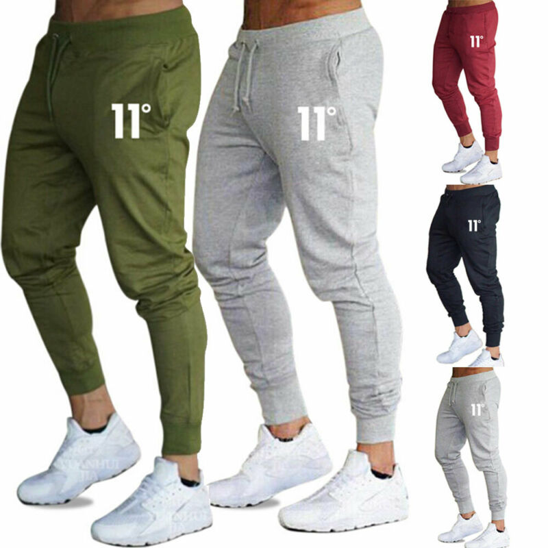 Casual Mens Slim Fit Tracksuit Sports Solid Male Gym Cotton Skinny Joggers Sweat Casual Pants Trousers