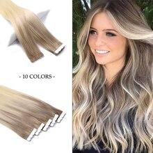 WIT лента для наращивания волос Skin человеческие волосы прямые машина Remy Европейский натурального бесшовные волосы на Клейкой Ленте имитирую...