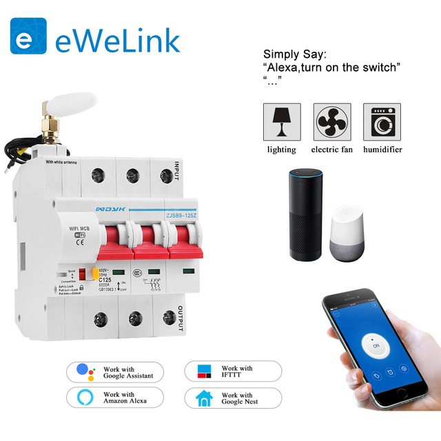 eWelink 3P  WiFi remote control circuit breaker Smart din rail switch compatiable with Alexa and google home for Smart Home