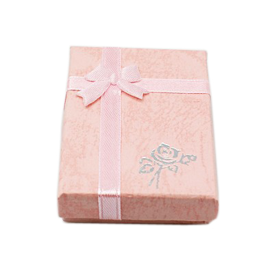 Rectangle Cardboard Pendant Necklaces Boxes for Valentines Day Presents Packages with Bowknot,  Size: about 7x5x2cm