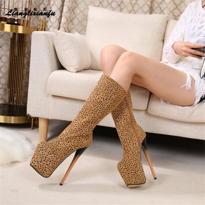 Crossdresser Gladiator Leopard shoes woman 19cm thin heels Knee High Boots Nightclub Botas mujer Sexy Lovers' interest Stilettos