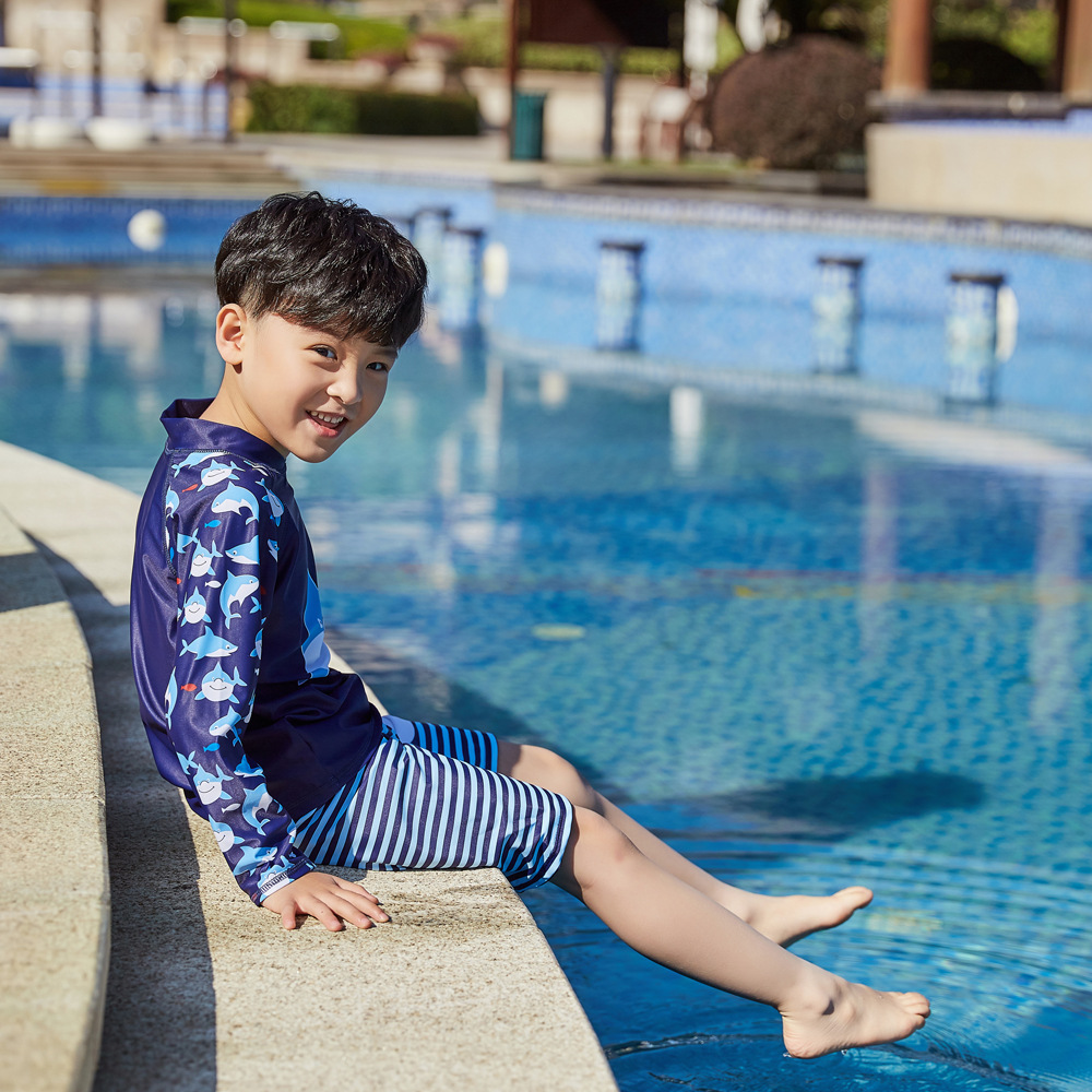 2019 Children Split Type Swimsuit Male Baby Bubble Hot Spring Swimsuit For Boys Handsome Cute Sports Olive Flower 1035