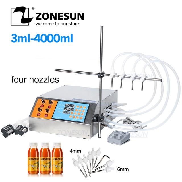 ZONESUN 4nozzle Bottle Water Filler Semi Automatic Liquid Vial Filling Machine For Juice Beverage Soy Sauce Oil Perfume