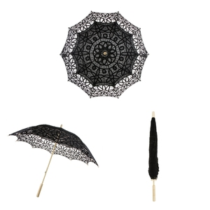 Image 4 - اليدوية القطن الدانتيل المطرزة مظلة واقية من الشمس الزفاف دش ديكور أسود
