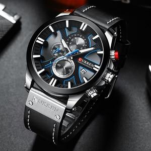 Image 3 - CURREN İzle Chronograph spor Mens saatler kuvars saat deri erkek kol saati Relogio Masculino moda hediye erkekler için