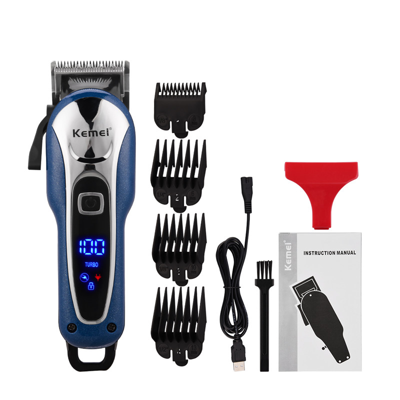 USB Hair Clipper Titanium Ceramic Blade Barber Hair Trimmer Men  Electric Beard Trimmer LCD Display Hair Cut With 4 Limit Combs