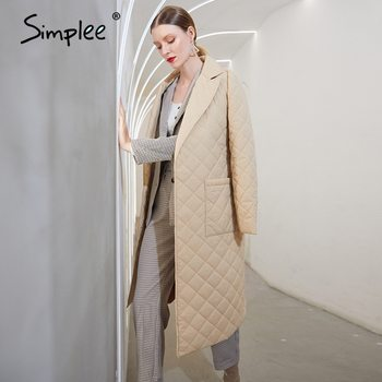 Simplee Fashion female winter windproof jacket  Casual sashes women winter parka Long straight coat with rhombus pattern 2020